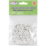 Wood Alphabet Beads 8mm 70/Pkg - White