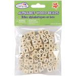 Natural - Wood Alphabet Beads 10mm 60/Pkg