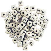 White - Wood Alphabet Beads 10mm 60/Pkg