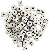 White - Wood Alphabet Beads 10mm 60/Pkg