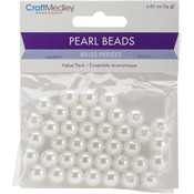 10mm White 40/Pkg - Pearl Beads Value Pack