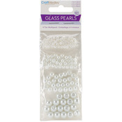 Pearl White - Glass Fired Pearl Beads Assorted Sizes Approx 135/Pkg