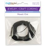 Black - Jewelry Craft Round Waxed Cording 1mm 30'/Pkg