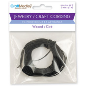 Black - Jewelry Craft Round Waxed Cording 1mm 30'/Pkg