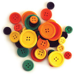 Colored - Craftwood Assorted Craft Buttons 40/Pkg