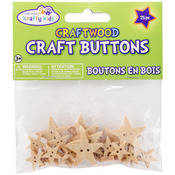 Stars - Craft Shaped Natural Buttons 25/Pkg