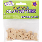 Hearts - Craft Shaped Natural Buttons 25/Pkg