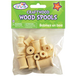 Natural - Craftwood Assorted Wood Spools 13/Pkg