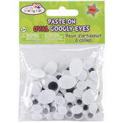 Paste - On Googly Eyes 80/Pkg - Black Standard Oval 10-19mm Assorted