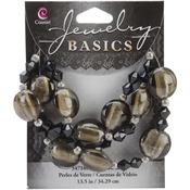 "Smoke and Black - Jewelry Basics Glass Bead 13.5"" Strand"