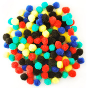 "Assorted Primary - Mini Pom-Poms .5"" 150/Pkg"