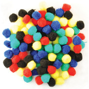 "Assorted Primary - Pom-Poms .75"" 100/Pkg"