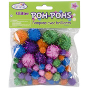 Assorted Glamour Colors And Sizes - Pom-Poms Glitter Pack 75/Pkg