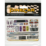 "Racer Accessories - Pine Car Derby Dry Transfer Decal 3""X2.5"" Sheet"