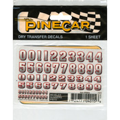 "Pine Car Derby Dry Transfer Decal 3""X2.5"" Sheet - Bevelled Numbers"