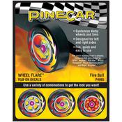 Fire Ball - Pine Car Derby Wheel Flare(TM) Rub-On Decals