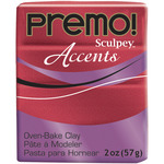Red Glitter - Premo Accents Sculpey Polymer Clay 2oz