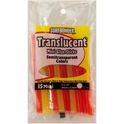 """Assorted Colors - Translucent Mini Glue Sticks .28""""X4"""" 15/Pkg"""