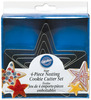 Stars - Nesting Metal Cookie Cutter Set 4/Pkg WILTON-Nesting Metal Cookie Cutters.  These wonderful cookie cutters are loads of fun.  This 4 piece set comes with 4 different sizes of cutters that nestle inside each other for easy storage. Sizes range from 2-1/2in to 4-1/2in.  Dishwasher safe: top shelf. Imported.