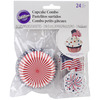 Red, White, and Blue 24/Pkg - Cupcake Combo Pack WILTON-Cupcake Combo Pack: Red, White And Blue. The easiest way to dress up a cupcake! Microwave safe. This package contains twenty- four two inch cups in one design and twenty-four three inch picks with an American flag or fireworks on each. Imported.