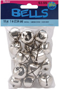 "Silver - Jingle Bells 1"" 18/Pkg"