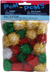"Christmas Darks - Tinsel Pom-Poms 1"" 24/Pkg"