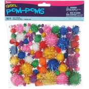 Brights Assorted - Tinsel Pom-Poms 100/Pkg