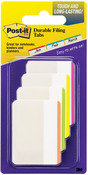 "Assorted Neon Colors - Post-It Durable Filing Tabs 2""X1.5"" 24/Pkg"