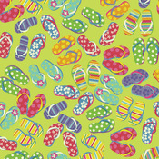 "Flip Flop Fun - Domestic Bandanna 22""X22"""