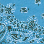 "Hav - A - Hank Paisley Bandannas 22""X22""-Light Blue"