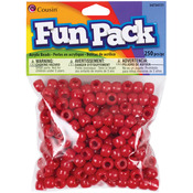 Red - Fun Pack Acrylic Pony Beads 250/Pkg
