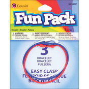 "#3 Red, White and Blue - Fun Pack Easy Clasp Rubber Bracelets 7"" 3/Pkg"