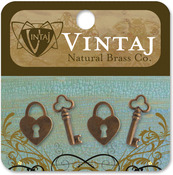Hearts & Keys 19mm - Vintaj Metal Accents 4/Pkg