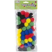 "Assorted Primary - Pom-Poms 1.25"" 40/Pkg"
