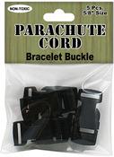 Black - Parachute Cord Bracelet Buckles 15mm 5/Pkg