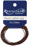 Brown - Round Leather Lace 1mm Carded 2yd