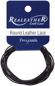 Black - Round Leather Lace 1mm Carded 2yd