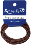 Brown - Round Leather Lace 2mm Carded 2yd