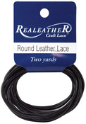 Black - Round Leather Lace 2mm Carded 2yd