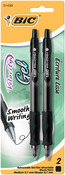 Black - Bic Velocity Gel Retractable Pens Medium Point 2/Pkg