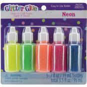 Neon - Glitter Glue .7 Ounces 5/Pkg