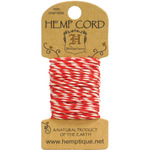 Red & White - Hemp Variegated Cord 20lb 20'/Pkg
