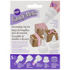 Candy Melt Decorating Tip Set WILTON-Candy Melt Decorating Tip Set. Perfect for decorating with Candy Melts candy! With the fine detailing tips, creating candy details is a snap. This package contains three decorating tips (one drizzling tip, one writing tip and one ribbon tip), one coupler and one microwave cap. Hand wash. Imported.