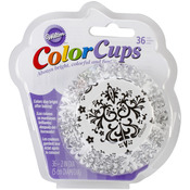 Black & White Damask 36/Pkg - ColorCup Standard Baking Cups