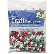 Opaque Xmas Red/White/Green - Pony Beads 9mm 720/Pkg