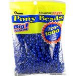 Opaque Blue - Pony Bead Big Value Pack 9mm 1000/Pkg