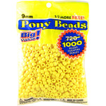 Opaque Lemon - Pony Bead Big Value Pack 9mm 1000/Pkg