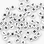 White Round W/Black Letters - Alphabet Beads 7mm 150/Pkg