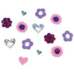 Hearts And Flowers 50/Pkg - Foam Sticker Holographic