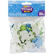 Turtles N Frogs 80/Pkg - Foam Sticker Confetti